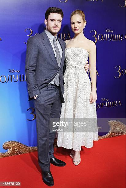 Actress Lily James and actor Richard Madden attends the 'Cinderella' Moscow premiere on February 16 2015 in Moscow Russia