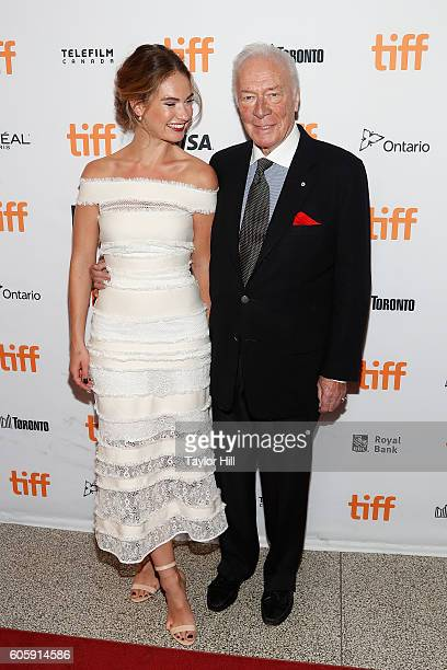 Actress Lily James and Christopher Plummer attend the premiere of 'The Exception' during the 2016 Toronto International Film Festival at Winter...