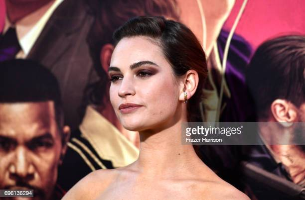 Actress Lily James arrives at the Premiere of Sony Pictures' 'Baby Driver' at Ace Hotel on June 14 2017 in Los Angeles California