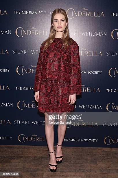Actress Lily James attends a screening of Disney's 'Cinderella' hosted by The Cinema Society And Stuart Weitzman at Tribeca Grand Hotel on March 8...