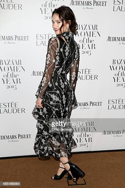 Actress Lily James attends Harper's Bazaar Women of the Year Awards at Claridge's Hotel on November 3 2015 in London England