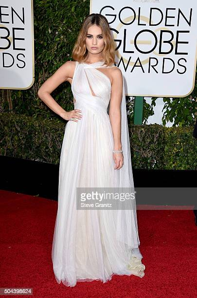 Actress Lily James attends the 73rd Annual Golden Globe Awards held at the Beverly Hilton Hotel on January 10 2016 in Beverly Hills California