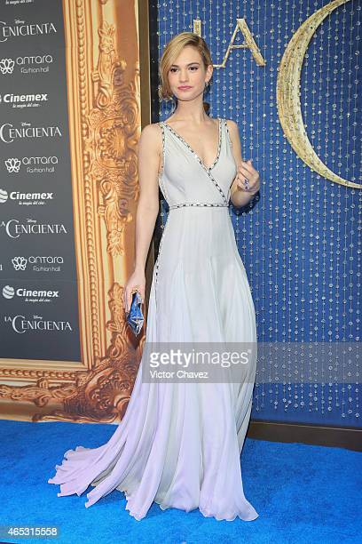 Actress Lily James attends the 'Cinderella' Mexico City premiere at Antara Polanco on March 5 2015 in Mexico City Mexico