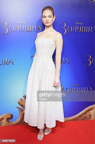 Actress Lily James attends the 'Cinderella' Moscow premiere on February 16 2015 in Moscow Russia