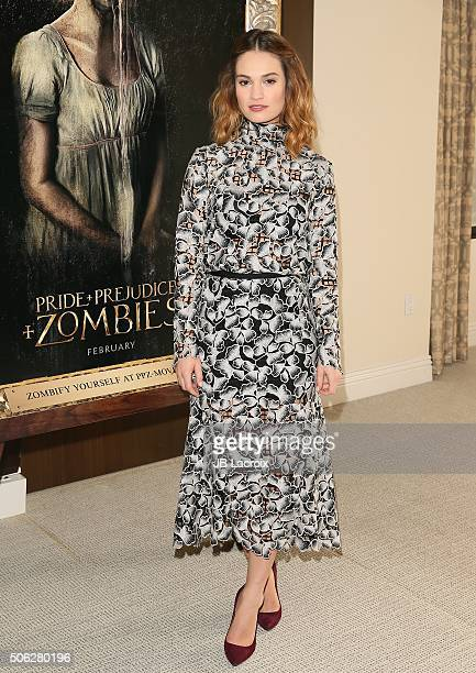 Actress Lily James attends the photocall of Screen Gems' 'Pride and Prejudice and Zombies' on January 22 2016 in Los Angeles California