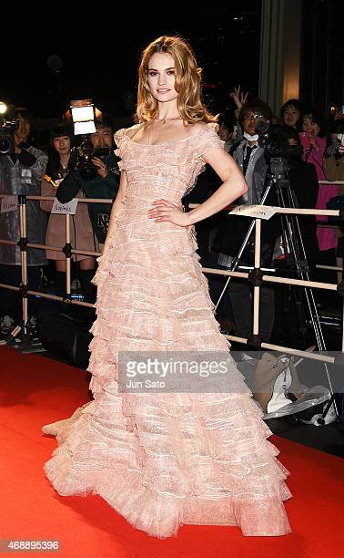 Actress Lily James attends the premiere of 'Cinderella' at Roppongi Hills on April 8 2015 in Tokyo Japan