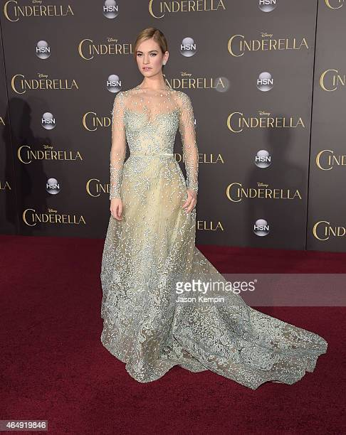 Actress Lily James attends the premiere of Disney's 'Cinderella' at the El Capitan Theatre on March 1 2015 in Hollywood California