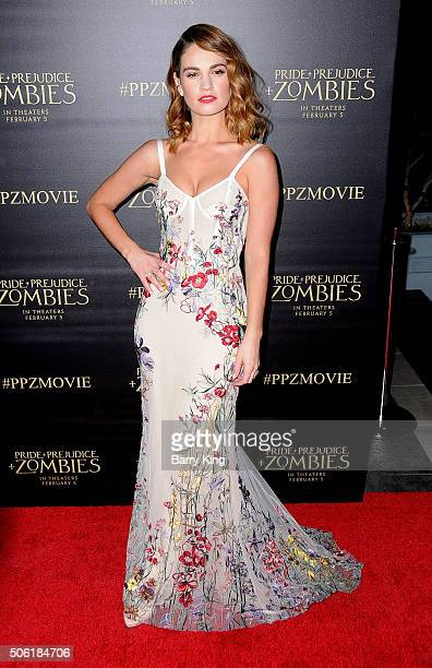 Actress Lily James attends the Premiere of Screen Gems' 'Pride And Prejudice And Zombies' at Harmony Gold Theatre on January 21 2016 in Los Angeles...