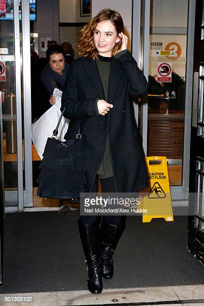 Actress Lily James seen leaving the BBC Radio 2 Studios on December 14 2015 in London England