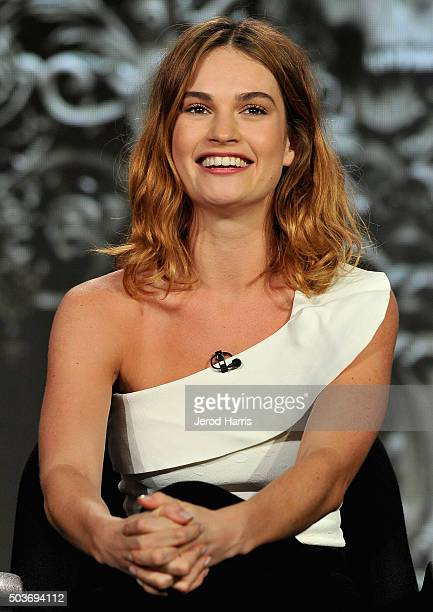 Actress Lily James speaks onstage during the War and Peace panel at the AE Networks 2016 Television Critics Association Press Tour at The Langham...