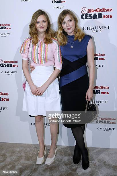 Actress Lily Taieb dressed in Chanel nominated for 'Trois souvenirs de ma jeunesse' and her sponsor Isabelle Carre attend the 'Cesar Revelations...
