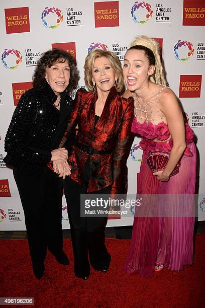 Actress Lily Tomlin actress Jane Fonda and singer/songwriter Miley Cyrus attend the 46th Anniversary Gala Vanguard Awards at the Hyatt Regency...