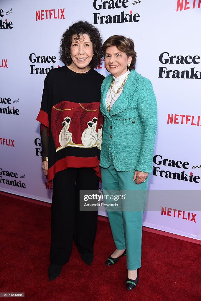 Actress <a gi-track='captionPersonalityLinkClicked' href=/galleries/search?phrase=Lily+Tomlin&family=editorial&specificpeople=208236 ng-click='$event.stopPropagation()'>Lily Tomlin</a> (L) and attorney <a gi-track='captionPersonalityLinkClicked' href=/galleries/search?phrase=Gloria+Allred&family=editorial&specificpeople=213999 ng-click='$event.stopPropagation()'>Gloria Allred</a> arrive at the Netflix Original Series 'Grace & Frankie' Season 2 premiere at the Harmony Gold Theater on May 1, 2016 in Los Angeles, California.