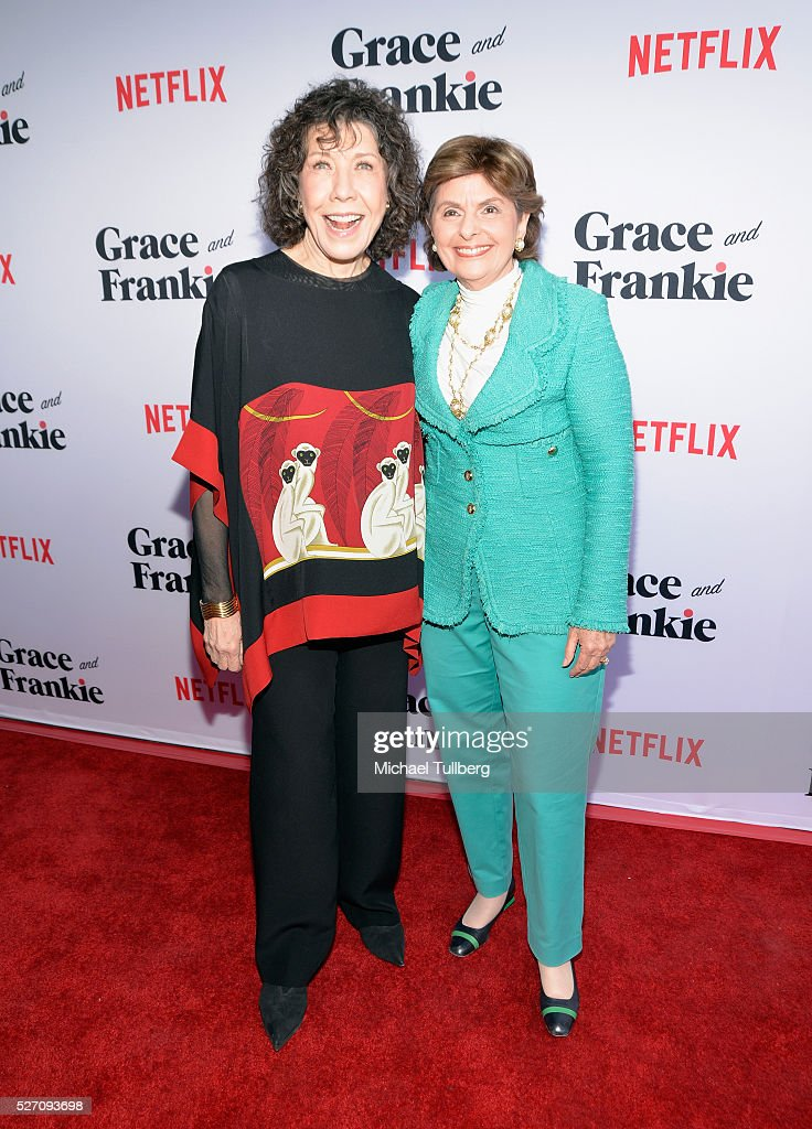 Actress Lily Tomlin and attorney Gloria Allred attend the premiere of Season 2 of the Netflix Original Series 'Grace & Frankie' at Harmony Gold on May 1, 2016 in Los Angeles, California.