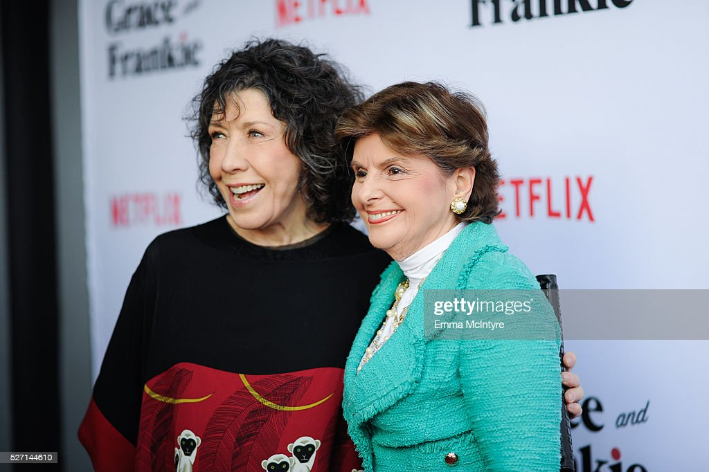 Actress <a gi-track='captionPersonalityLinkClicked' href=/galleries/search?phrase=Lily+Tomlin&family=editorial&specificpeople=208236 ng-click='$event.stopPropagation()'>Lily Tomlin</a> (L) and attorney <a gi-track='captionPersonalityLinkClicked' href=/galleries/search?phrase=Gloria+Allred&family=editorial&specificpeople=213999 ng-click='$event.stopPropagation()'>Gloria Allred</a> attend the premiere of Season 2 of the Netflix Original Series 'Grace & Frankie' at Harmony Gold on May 1, 2016 in Los Angeles, California.