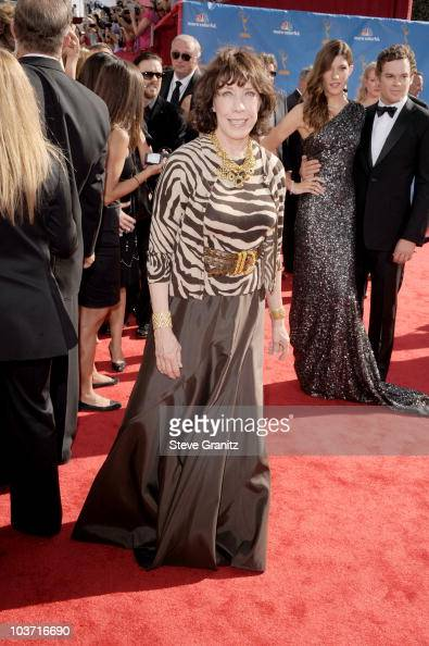 Actress Lily Tomlin arrives at the 62nd Annual Primetime Emmy Awards held at the Nokia Theatre LA Live on August 29 2010 in Los Angeles California