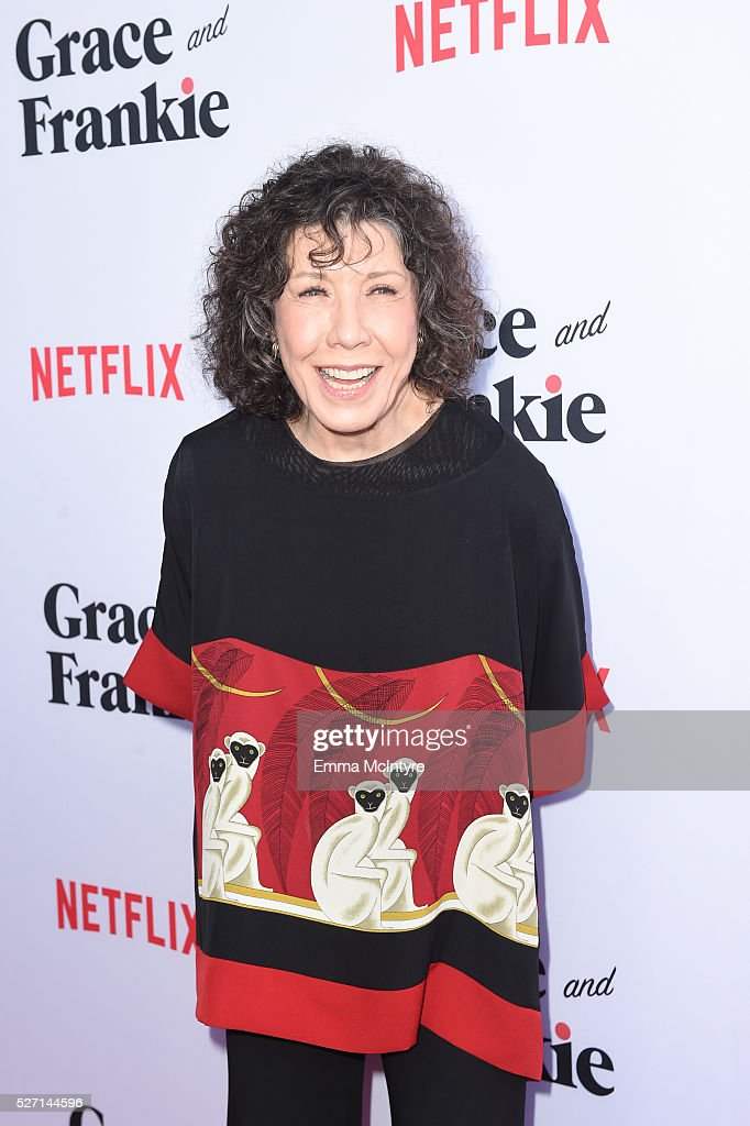 Actress <a gi-track='captionPersonalityLinkClicked' href=/galleries/search?phrase=Lily+Tomlin&family=editorial&specificpeople=208236 ng-click='$event.stopPropagation()'>Lily Tomlin</a> arrives at the Netflix Original Series 'Grace & Frankie' Season 2 premiere at Harmony Gold on May 1, 2016 in Los Angeles, California.