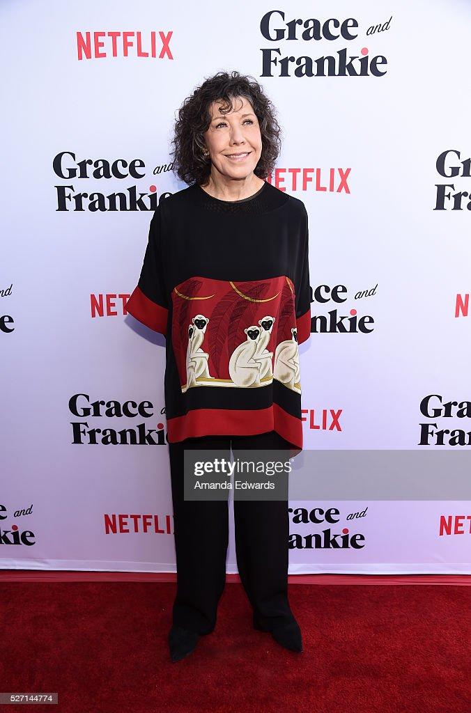 Actress Lily Tomlin arrives at the Netflix Original Series 'Grace & Frankie' Season 2 premiere at the Harmony Gold Theater on May 1, 2016 in Los Angeles, California.