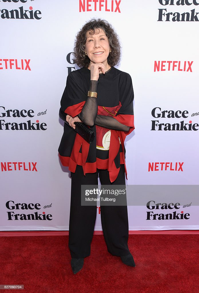 Actress <a gi-track='captionPersonalityLinkClicked' href=/galleries/search?phrase=Lily+Tomlin&family=editorial&specificpeople=208236 ng-click='$event.stopPropagation()'>Lily Tomlin</a> attends the premiere of Season 2 of the Netflix Original Series 'Grace & Frankie' at Harmony Gold on May 1, 2016 in Los Angeles, California.