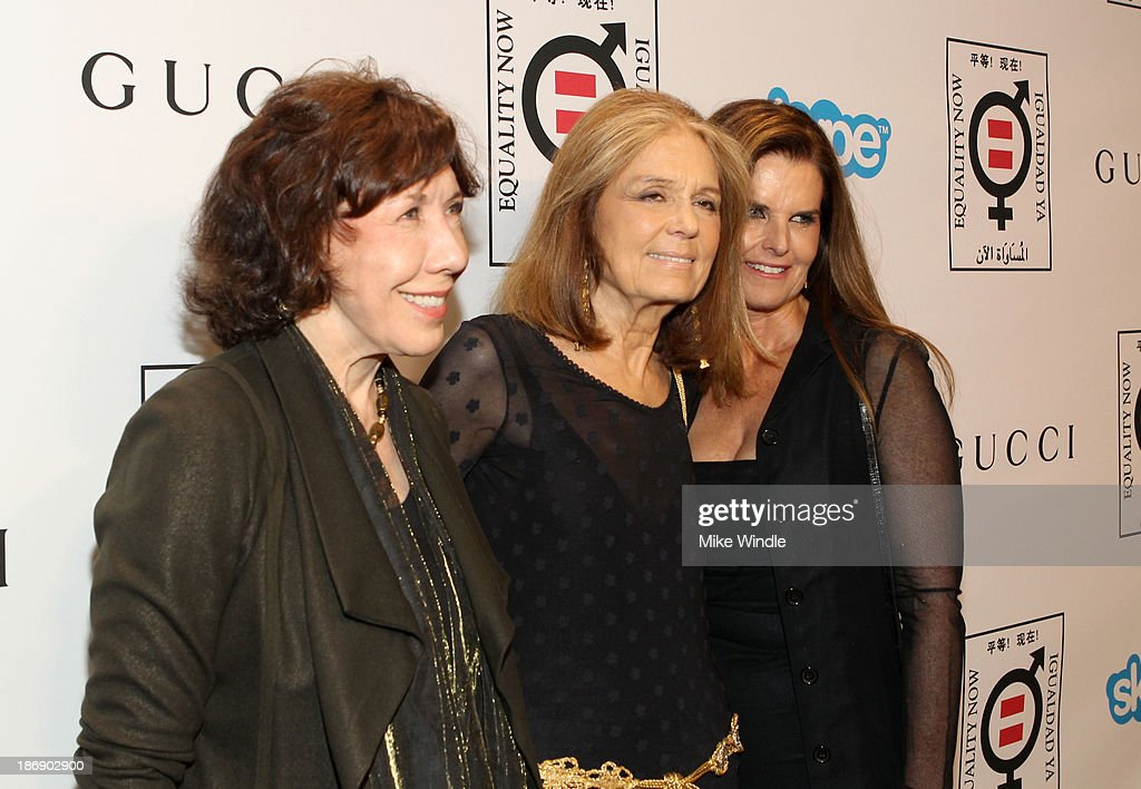 Actress <a gi-track='captionPersonalityLinkClicked' href=/galleries/search?phrase=Lily+Tomlin&family=editorial&specificpeople=208236 ng-click='$event.stopPropagation()'>Lily Tomlin</a>, Equality Now boardmember <a gi-track='captionPersonalityLinkClicked' href=/galleries/search?phrase=Gloria+Steinem&family=editorial&specificpeople=213078 ng-click='$event.stopPropagation()'>Gloria Steinem</a> and <a gi-track='captionPersonalityLinkClicked' href=/galleries/search?phrase=Maria+Shriver&family=editorial&specificpeople=179436 ng-click='$event.stopPropagation()'>Maria Shriver</a> attend Equality Now presents 'Make Equality Reality' at Montage Hotel on November 4, 2013 in Los Angeles, California.