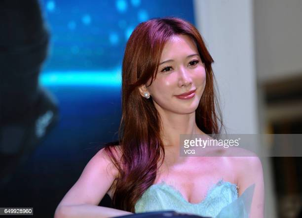 Actress Lin Chiling attends an endorsement event for household appliances manufacturer 'Sunrain' on March 9 2017 in Shanghai China