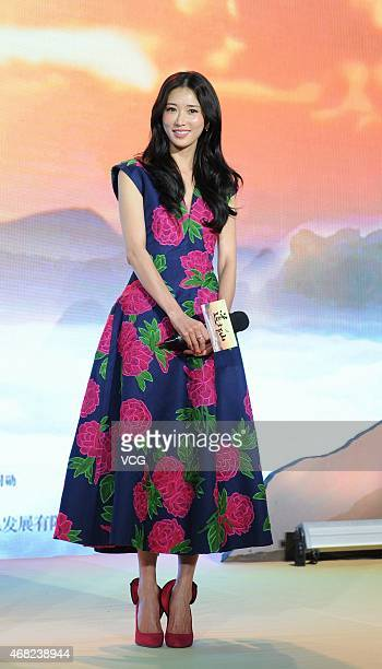 Actress Lin Chiling attends director Chen Kaige's new movie 'A Monk In A Floating World' press conference on March 31 2015 in Beijing China