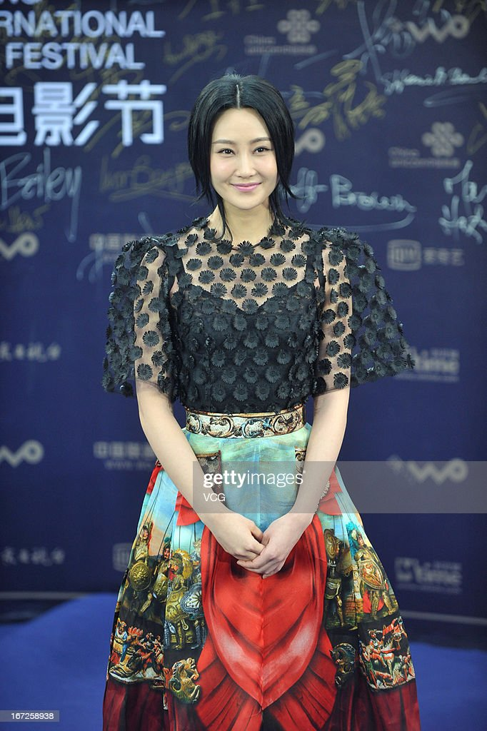 Actress Lin Peng arrives at the closing ceremony red carpet during the 3rd Beijing International Film Festival at China National Convention Center on April 23, 2013 in Beijing, China.