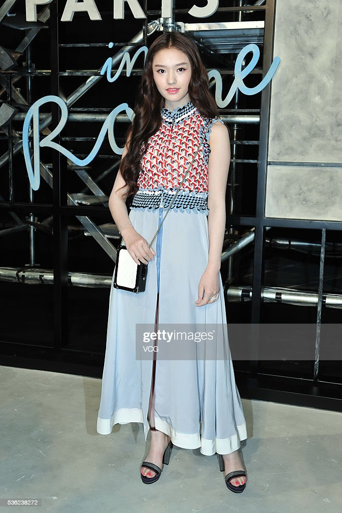 Actress Lin Yun arrives at the red carpet of a press conference of Chanel's 'Paris in Rome 2015/16' Metiers d'Art Show on May 31, 2016 in Beijing, China.