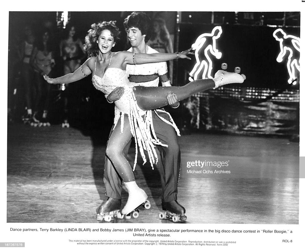 Actress Linda Blair and actor Jim Bray on set of the United Artist movie 'Roller Boogie' in 1979