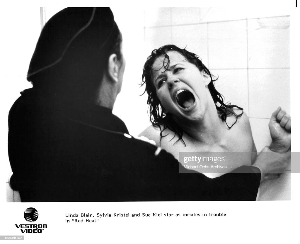 Actress Linda Blair on set of the movie 'Red Heat' in 1985