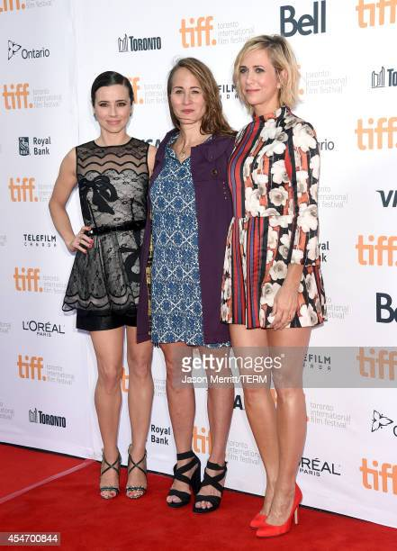Actress Linda Cardellini director Shira Piven and producer/actress Kristen Wiig attend the 'Welcome To Me' premiere during the 2014 Toronto...
