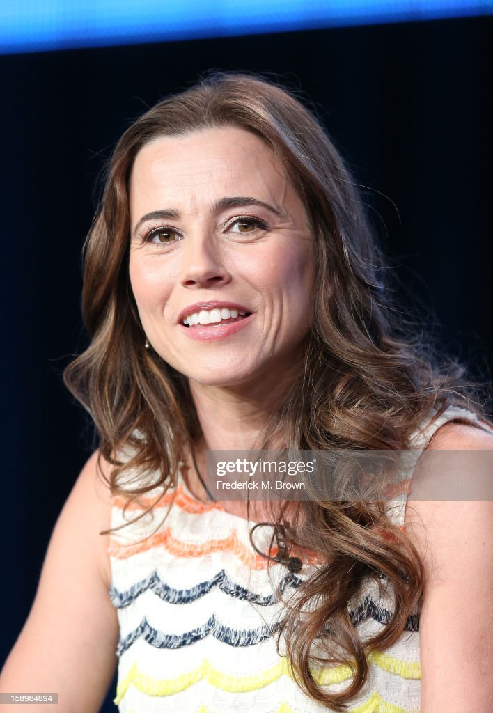 Actress Linda Cardellini speaks onstage during the 'Out There' panel discussion at the IFC portion of the 2013 Winter TCA Tourduring 2013 Winter TCA Tour - Day 1 at Langham Hotel on January 4, 2013 in Pasadena, California.