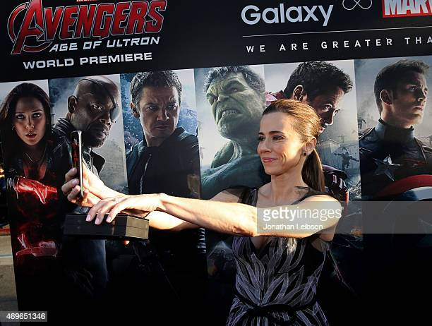 Actress Linda Cardellini takes a selfie using the new Samsung Galaxy S 6 edge at the release of 'Avengers Age Of Ultron' at Dolby Theatre on April 13...
