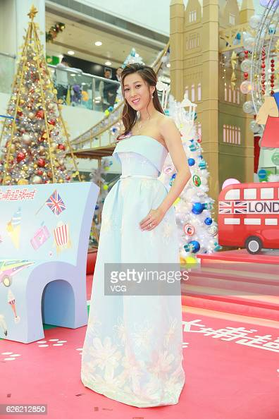 Actress Linda Chung Kayan attends the Christmas lighting ceremony themed with Paddington Bear at a shopping mall on November 27 2016 in Hong Kong...