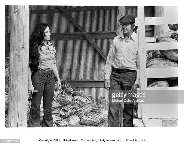 Actress Linda Cristal and actor Charles Bronson on set of the United Artist movie 'Mr Majestyk' in 1974