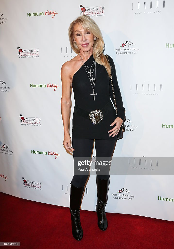 Actress <a gi-track='captionPersonalityLinkClicked' href=/galleries/search?phrase=Linda+Thompson+-+Actress&family=editorial&specificpeople=13681123 ng-click='$event.stopPropagation()'>Linda Thompson</a> attends the Los Angeles Unbridled Derby prelude party at The London Hotel on January 10, 2013 in West Hollywood, California.