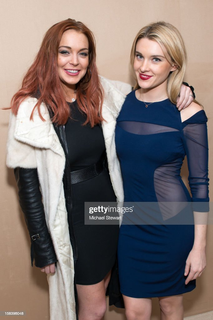 Actress <a gi-track='captionPersonalityLinkClicked' href=/galleries/search?phrase=Lindsay+Lohan&family=editorial&specificpeople=171623 ng-click='$event.stopPropagation()'>Lindsay Lohan</a> (L) and Jackie Swerz attend Lonneke Engel And Valentina Zelyaeva Organice Your Life Annual Holiday Party at Time Warner Building on December 14, 2012 in New York City.