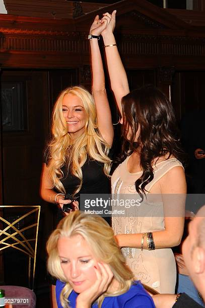 Actress Lindsay Lohan and Jessica Meisels attend 'Rock The Kasbah' hosted by Sir Richard Branson and Eve Branson held at Vibiana on October 26 2009...