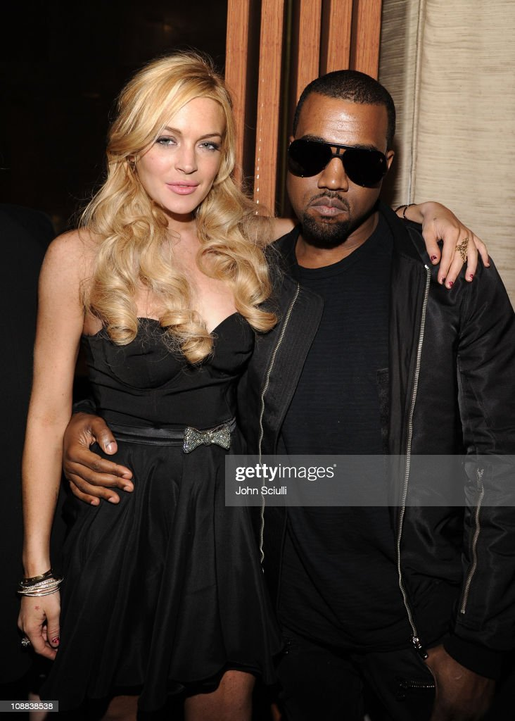 Actress Lindsay Lohan and Kanye West attend the Giuseppe Zanotti Design Beverly Hills Store Opening dinner held at BOA Sunset on February 4 2011 in...