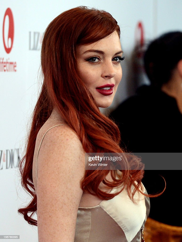 Actress <a gi-track='captionPersonalityLinkClicked' href=/galleries/search?phrase=Lindsay+Lohan&family=editorial&specificpeople=171623 ng-click='$event.stopPropagation()'>Lindsay Lohan</a> arrives at a party to celebrate Lifetime's 'Liz & Dick' at the Beverly Hills Hotel on November 20, 2012 in Beverly Hills, California.