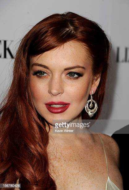Actress Lindsay Lohan arrives at a party to celebrate Lifetime's 'Liz Dick' at the Beverly Hills Hotel on November 20 2012 in Beverly Hills California
