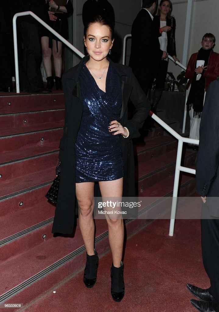 Actress Lindsay Lohan arrives at the EMI Post-GRAMMY Party at W Hollywood on January 31, 2010 in Hollywood, California.