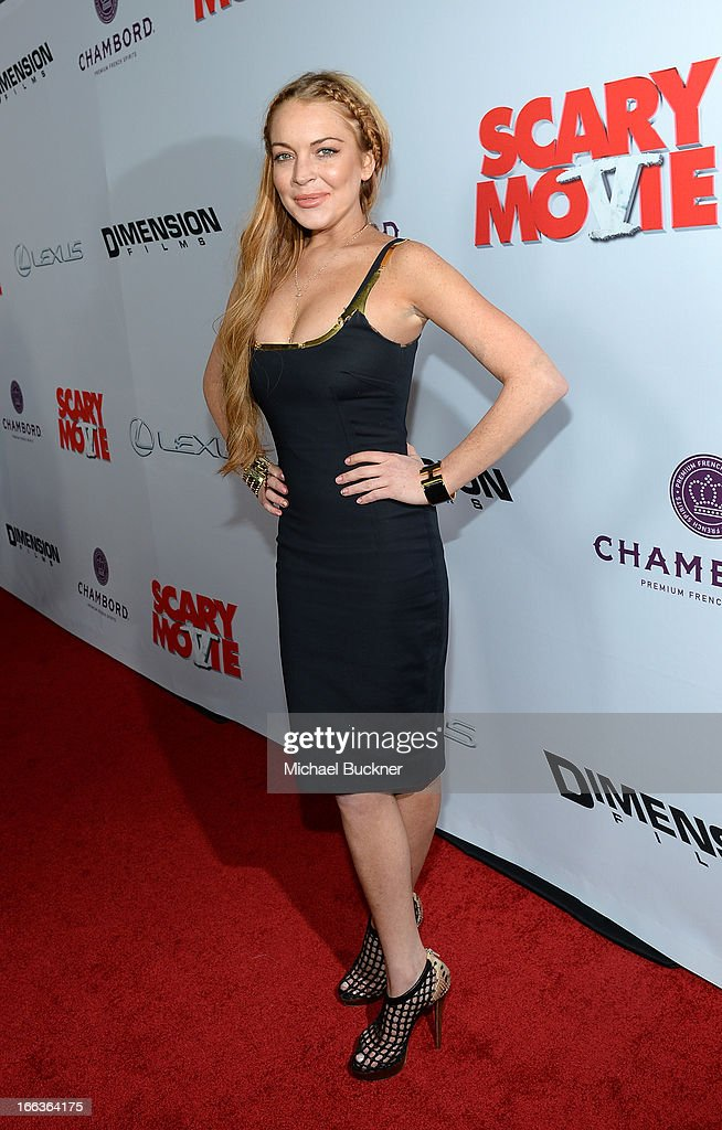 Actress Lindsay Lohan arrives for the premiere of Dimension Films' 'Scary Movie 5' at ArcLight Cinemas Cinerama Dome on April 11, 2013 in Hollywood, California.