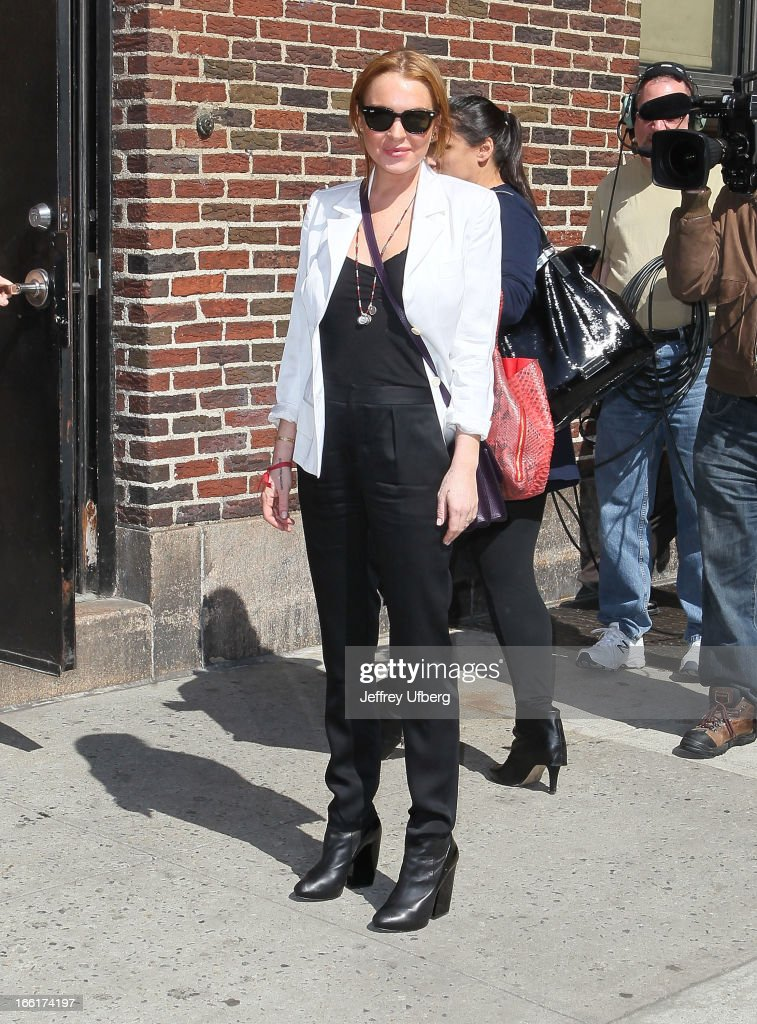 Actress Lindsay Lohan arrives to 'Late Show with David Letterman' at Ed Sullivan Theater on April 9, 2013 in New York City.