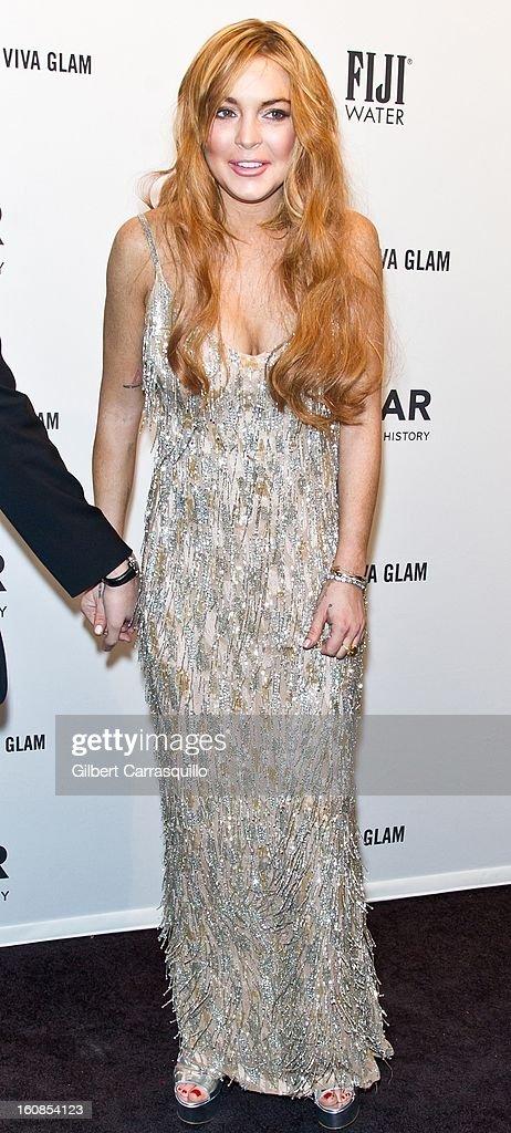 Actress Lindsay Lohan attends amfAR New York Gala To Kick Off Fall 2013 Fashion Week Cipriani Wall Street on February 6, 2013 in New York City.