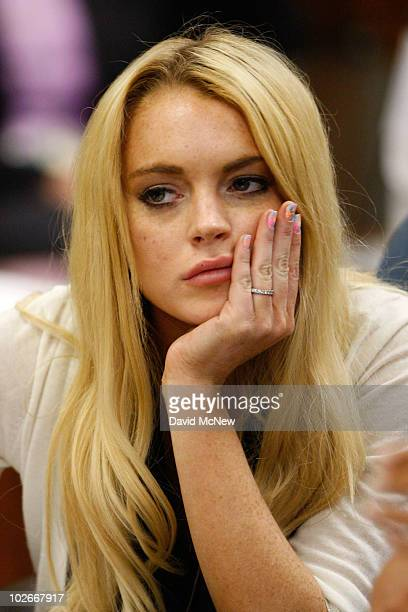 Actress Lindsay Lohan attends her probation revocation hearing at the Beverly Hills Courthouse on July 6 2010 in Los Angeles California Lindsay Lohan...