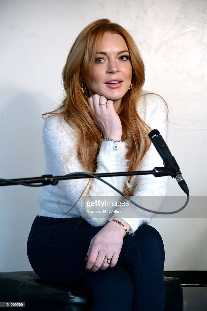 Actress <a gi-track='captionPersonalityLinkClicked' href=/galleries/search?phrase=Lindsay+Lohan&family=editorial&specificpeople=171623 ng-click='$event.stopPropagation()'>Lindsay Lohan</a> attends <a gi-track='captionPersonalityLinkClicked' href=/galleries/search?phrase=Lindsay+Lohan&family=editorial&specificpeople=171623 ng-click='$event.stopPropagation()'>Lindsay Lohan</a> Press Conference at Social Film Loft during the 2014 Park City on January 20, 2014 in Park City, Utah.