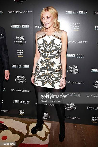 Actress Lindsay Lohan attends The Cinema Society Coach screeing of 'Source Code' at the Crosby Street Hotel on March 31 2011 in New York City