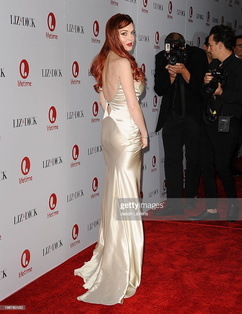 Actress <a gi-track='captionPersonalityLinkClicked' href=/galleries/search?phrase=Lindsay+Lohan&family=editorial&specificpeople=171623 ng-click='$event.stopPropagation()'>Lindsay Lohan</a> attends the premiere of 'Liz & Dick' at Beverly Hills Hotel on November 20, 2012 in Beverly Hills, California.