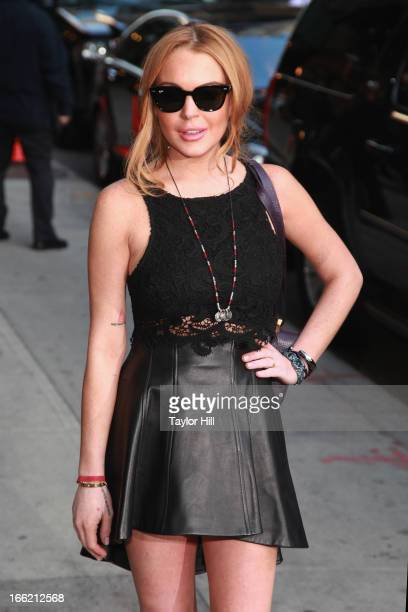 Actress Lindsay Lohan departs 'Late Show with David Letterman' at Ed Sullivan Theater on April 9 2013 in New York City